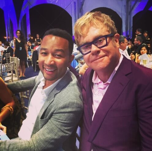 JAMES 18 Elton John and John Legend at Leonardo DiCaprio's Charity Gala (FR) 2015 instagram @eltonjohn